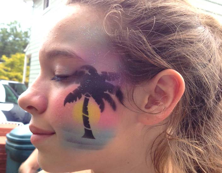 Big Grins Airbrush Face Painting Tropical Sunset